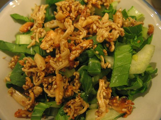 I just had this salad at a pot luck winter solstice party in Hawaii for the first time. It was SO good, we had to learn how to make it ourselves. Simple, full of good for you greens and different.