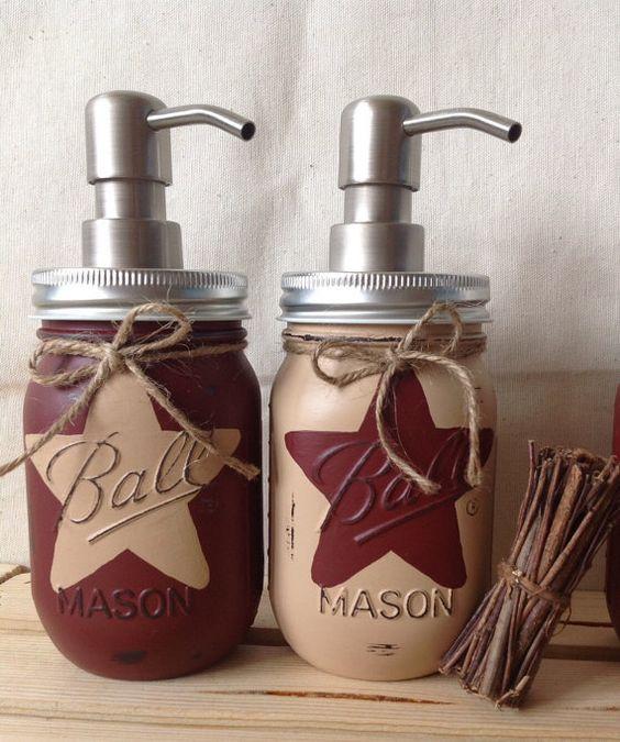 Rustic Star Mason Jar Dispensers, Set of 2, Rustic Star Decor, Kitchen Decor, Bathroom Decor, Customize to fit your decor, cottage chic