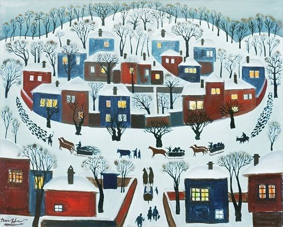 Winter Village, 1969 by Radi Nedelchev