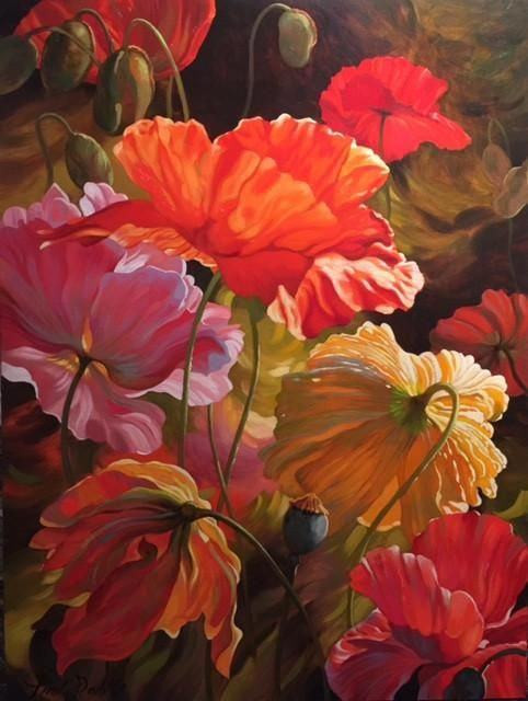Watercolor Painting Original Pink Hollyhock Floral Decor Summer