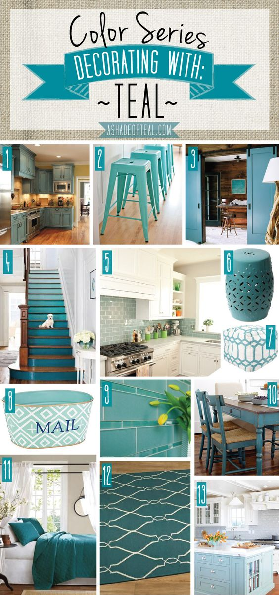 Color Series; Decorating with Teal | Teal kitchen, Bath decor and Teal