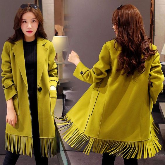 Women Tassels Long Suit Collar Trench Warm Slim Jacket Coats Outwear Windbreaker