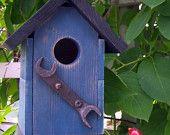 Treasured Dungaree Blues Birdhouse, American Rust Series. Farmhouse chic