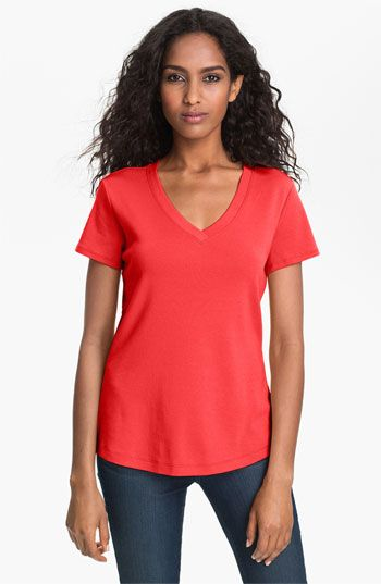 I've sung the praises of curved-hem tees before (http://www.alreadypretty.com/2012/10/this-week-i-love-shirttail-tees.html), and I have a few from Gap and Kohl's. But this tee? Superior in every way. It's a sturdy, ribbed cotton which I find to be my favorite tee shirt material. Has a v-neck that isn't too deep or wide. Curved hem, true to its size chart, and works both untucked with pants and tucked into skirts. $26 via Nordstrom