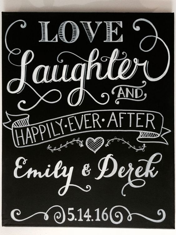 """Personalized Love, Laughter & Happily Ever After Wedding Chalkboard Art Sign - 16""""x20"""" or 24""""x36"""" - calligraphy, hand lettered, hand painted"""
