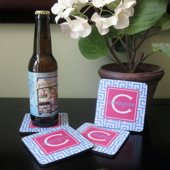 Monogram Coasters  Greek Key  Design Your Own by ThePreppyLadybug, $20.00