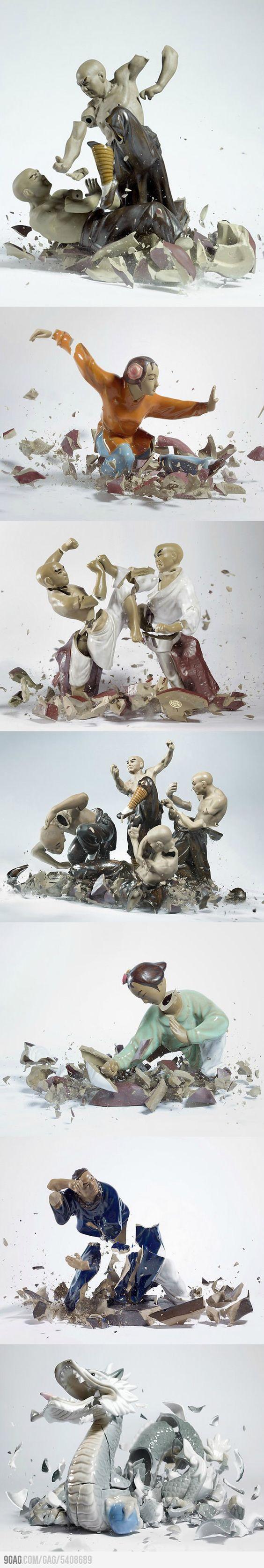 9GAG - Shattering Porcelain Fighting Figures