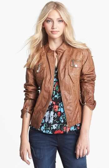 Faux leather bomber jackets for juniors