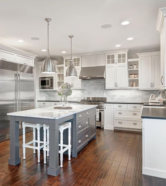 white marble kitchen with grey island house ideas