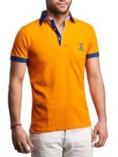 Polo homme manches courtes orange doublure à carreaux
