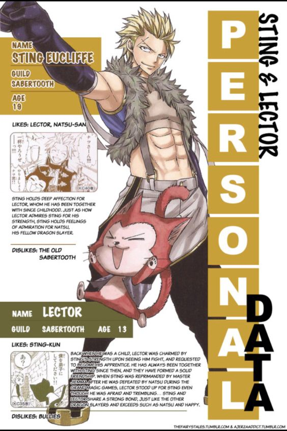 Fairy Tail | Sting & Lector's Personal Data From Monthly Fairy Tail Cover