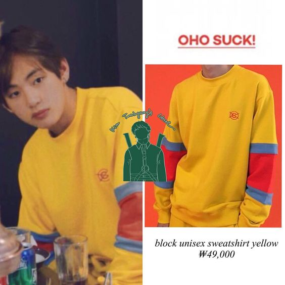 BURN THE STAGE Taehyung is wearing OHOSUCK block unisex sweatshirt Price ₩49,000 - -…