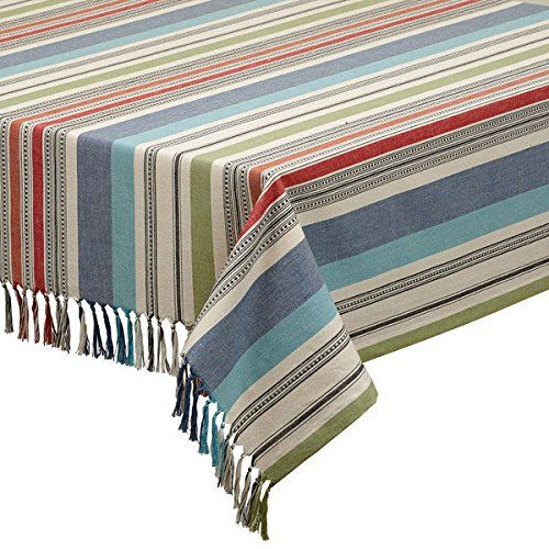 Mediterranean Stripe Tablecloth Striped Tablecloths Design Imports Tablecloth Sizes