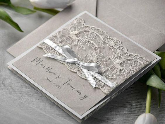 Wedding Invitation Pricing: Special Price Eco Lace Wedding Invitation, Pocket Fold