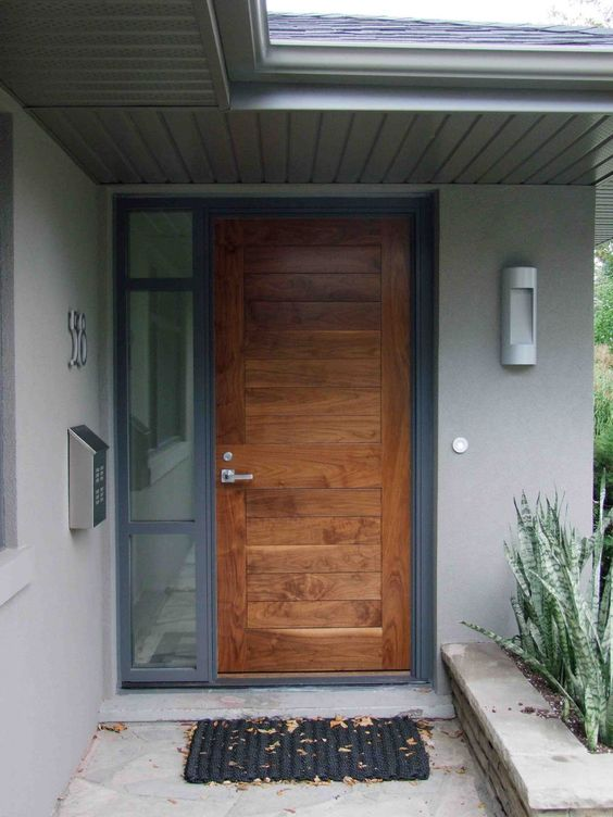 Stunning natural brown single modern front door with for Natural wood front door