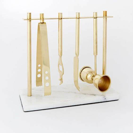 Deco Marble and Gold Bar Set - West Elm