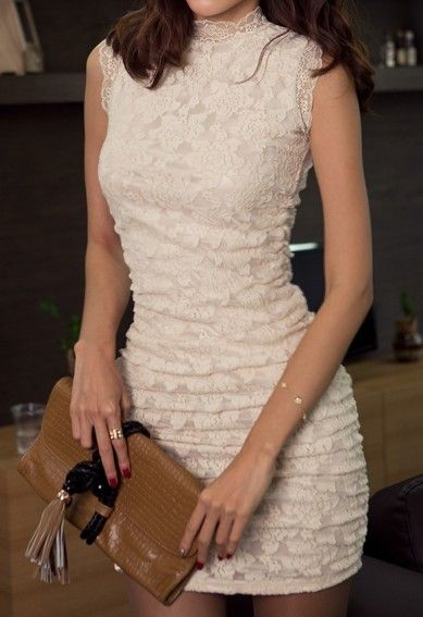 White High Neck Sleeveless Embroidery Dress. Guess has one just like it ...