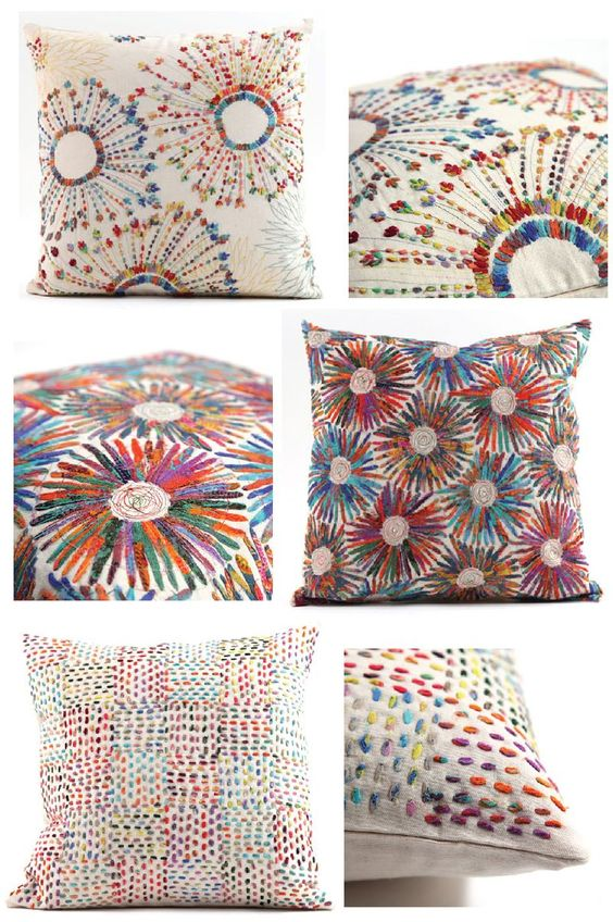 Embroidered pillows by Collex via Cari Mateo blog