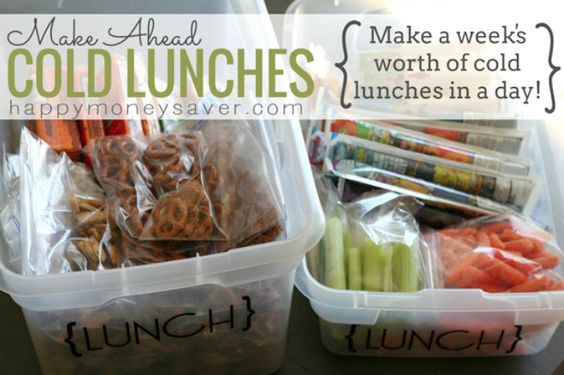 An amazing idea for dealing with kids lunches! Making a bunch of items in one day for the week so there is no stress during the week!