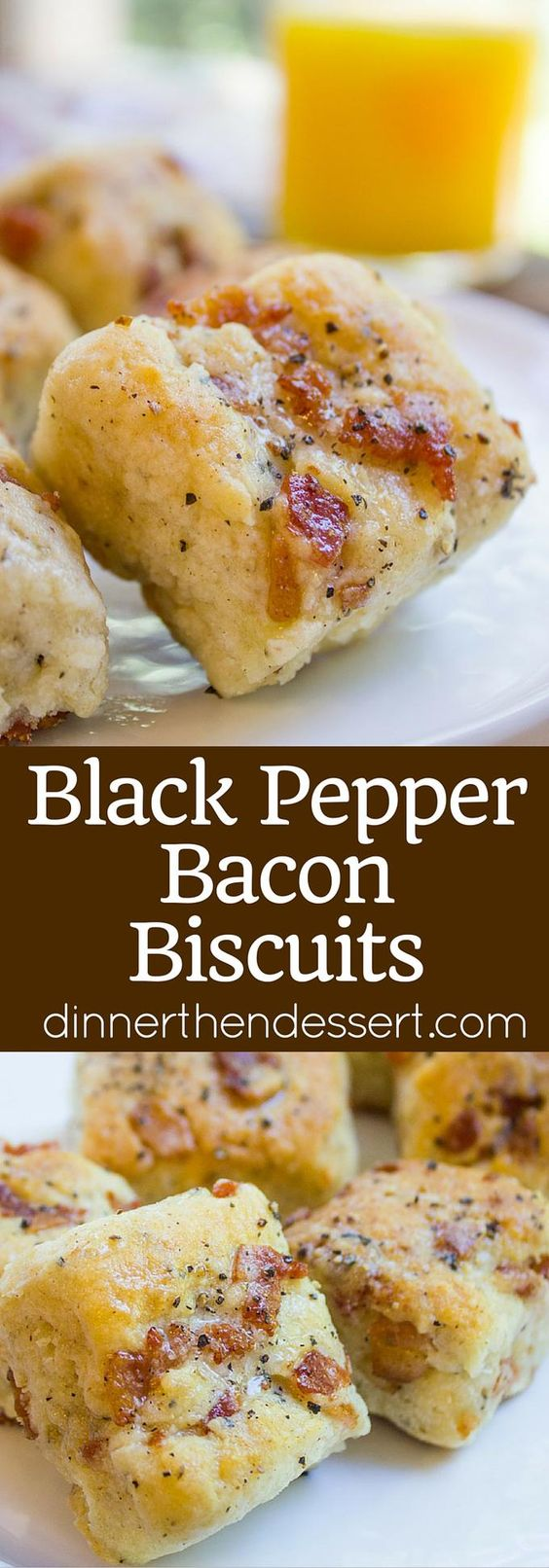 """Black Pepper Bacon Biscuits are peppery, full of delicious bacon, cream cheese and buttermilk, they are fluffy and flaky. The perfect biscuit for your weekend brunch!"" Recipe via Dinner then Dessert - The Best Homemade Biscuits Recipes - Quick, Easy and Delicious Bread Sides for Breakfast, Brunch, Lunch and Family Dinner! #biscuits #biscuitrecipes #homemdebiscuits #easybiscuits #rolls #homemadebreadsides #bread #breakfastrecipes #comfortfood"