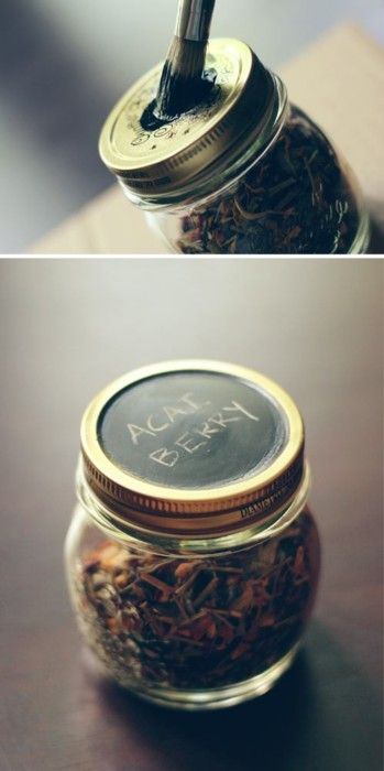 chalk paint on mason jars.  This is the BEST use I've seen for chalk board paint, yet.