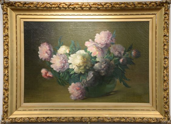 "CHARLES ETHAN PORTER (1847-1923)  Peonies  oil on canvas  signed lower right C. E. Porter  26"" x 36""  Included Documentation:  Original letters from Vernon Historical Society for this painting to be on loan from September 29, 1989 through November 1, 1989, and exhibited October 6-28.,  Exhibited:  Pictured in color in The Connecticut Gallery, Charles Ethan Porter catalogue book, page 99, plate XXI  Estimate: $20,000 - $40,000"