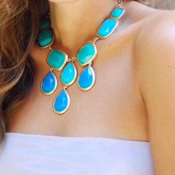 aqua statement necklace