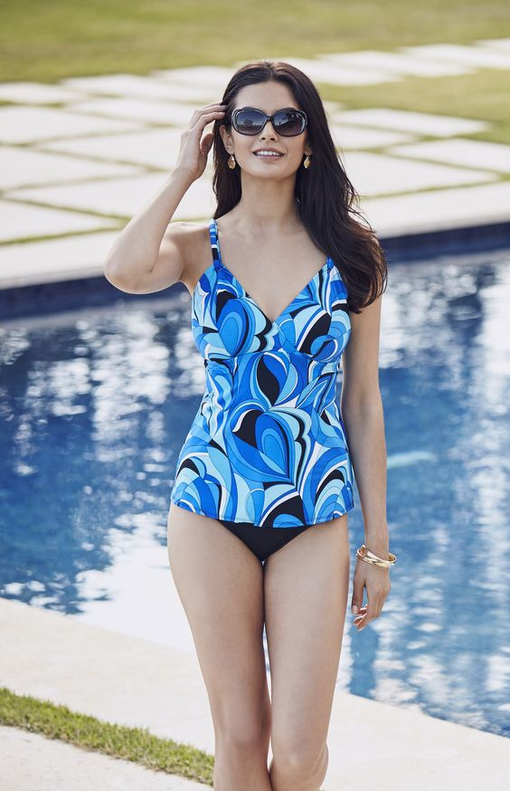 Make a stylish splash in this tankini top with a colorful kaleidoscope pattern.