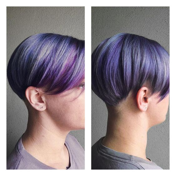 Vibrant violet undercut with Kevin.Murphy hair resort, styled by Kelli at #TribecaSouthTampa! #WomensCut #Haircolor