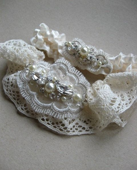 Wedding bridal Garter Ivory  Champagne shabby chic by LeFlowers, $42.00