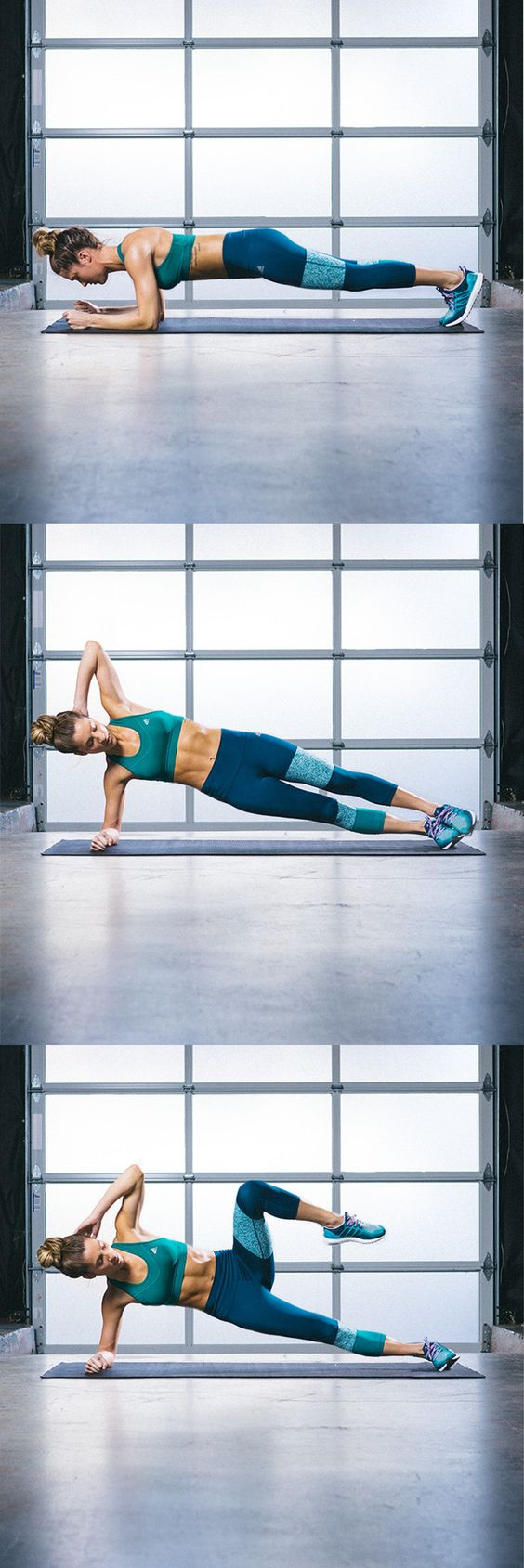 Easy does it doesn't cut it. A side plank is an optimal exercise to tone and strengthen your foundation.Hard work creates a hardcore so you can crush this workout.  Click for more style inspiration.