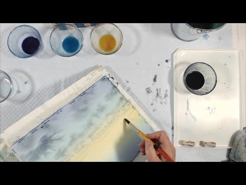 Painting Dark Clouds On A Lighter Value Sky In Watercolor