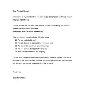 Landlords can use this warning letter to request that a tenant get ...