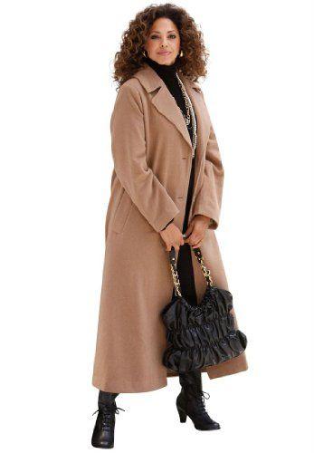 Roamans Plus Size Classic Long Wool Blend Coat | Long Wool Coats