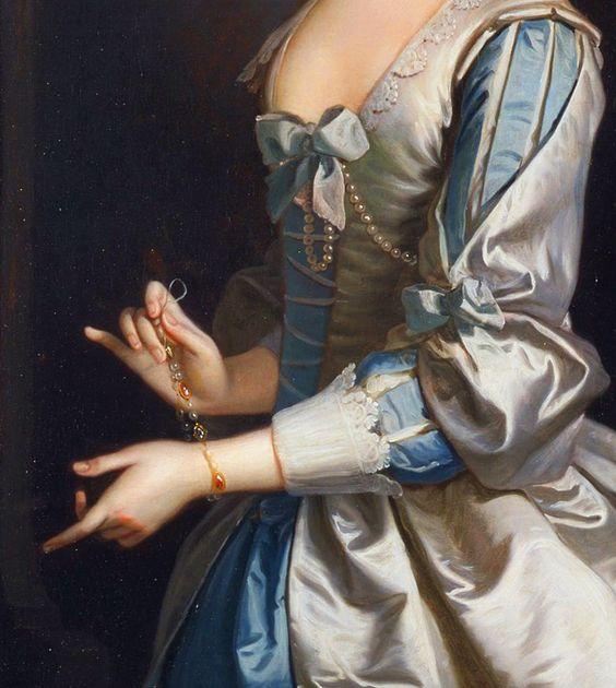 Portrait of a Woman, Probably Elizabeth Aislabie of Studley Royal, Yorkshire - Thomas Hudson. Detail.