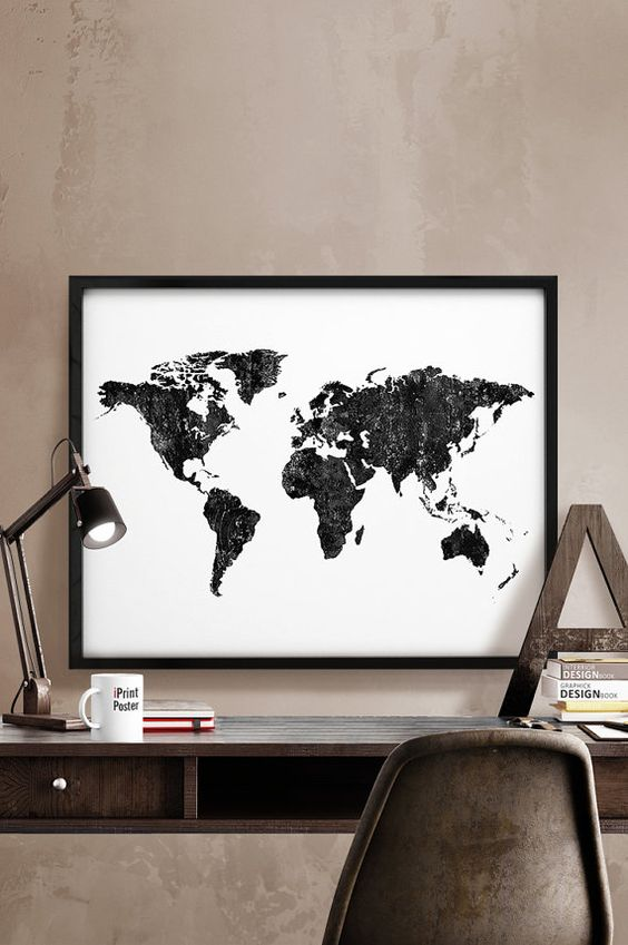 World map poster art print black white world map by iprintposter world map poster art print black white world map by iprintposter gumiabroncs Image collections