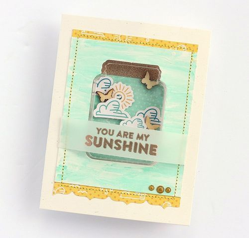 You Are My Sunshine Card by Sarah Webb featuring Jillibean Soup Shape Shakers and Mushroom Medley: