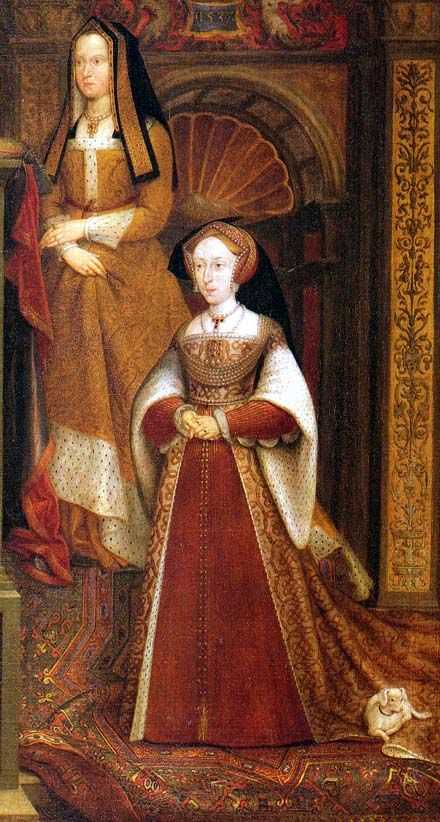 Elizabeth of York and Jane Seymour: detail from the Whitechapel Mural, copy by van Leemput after Holbein, 1667.  (Thurley, p. 211)  Tudor dress but with a 17th century vertical/conical silouhette.