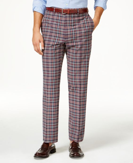 Lauren Ralph Lauren Men's Flat Front Classic-Fit Madras Plaid Pants