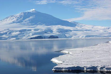Mount Erebus, Antarctica. An active, frozen volcano. Beautiful.