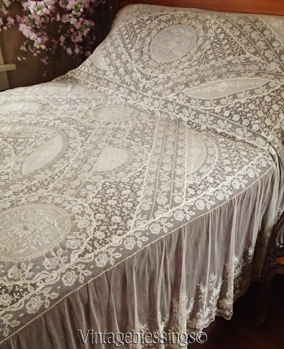 EXCEPTIONAL Antique FRENCH Normandy LACE Antique Bedspread Coverlet France Label www.Vintageblessings.com