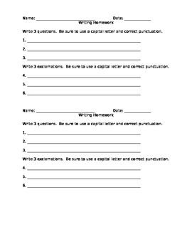 First Grade Writing Questions and Exclamations Worksheet(FREE ...