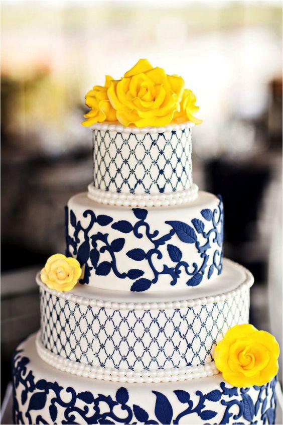 Imagens de cores para decoração de casamento 2014 bolo em amarelo e azul:
