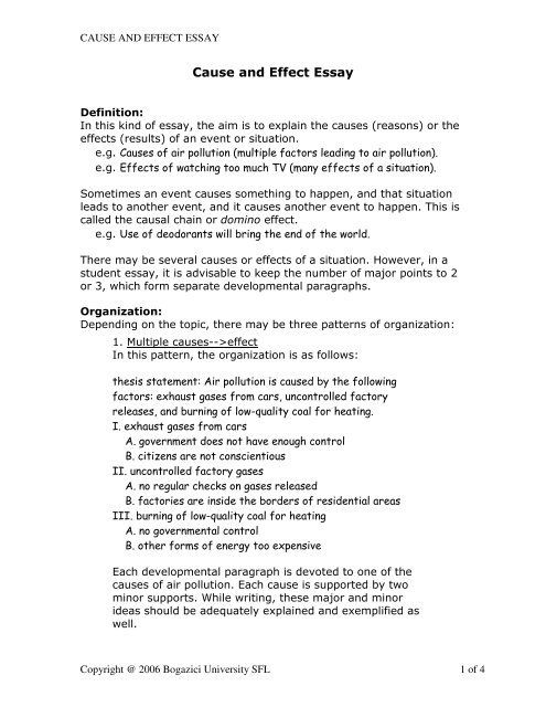 Cause And Effect Essay Bogazici University Online Writing Lab In 2020 Skills Define
