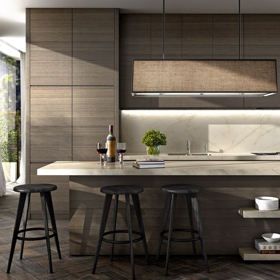 Contemporary Wood Grain Cabinetry: Robert Mills Architects