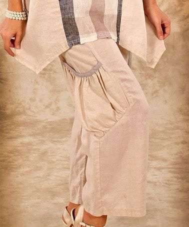 This Beige & Gray Pouch Pocket Linen Cropped Pant - Women & Plus is perfect! #zulilyfinds