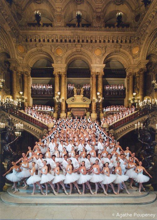 Photo: Agathe Poupeney.    and students of the Paris Opera Ballet School at the Palais Garnier staircase