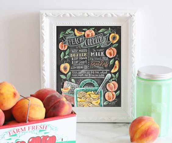 August is National Peach Month! Celebrate with our Peach Cobbler Chalk Art Recipe - Print