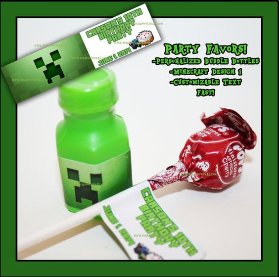 PERSONALIZED MINECRAFT Party Favor Bubble Bottles For Bags