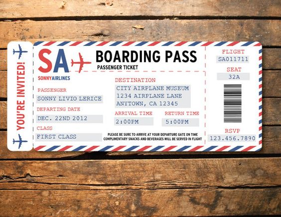 Printable Airplane Airline Birthday Party Baby Shower Ticket - airline ticket template free